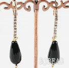 rhinestone and black agate earrings