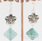 blue jade tibet silver flower earrings