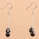 Simple Long Style Natural Red Black Freshwater Pearl Dangle Earrings