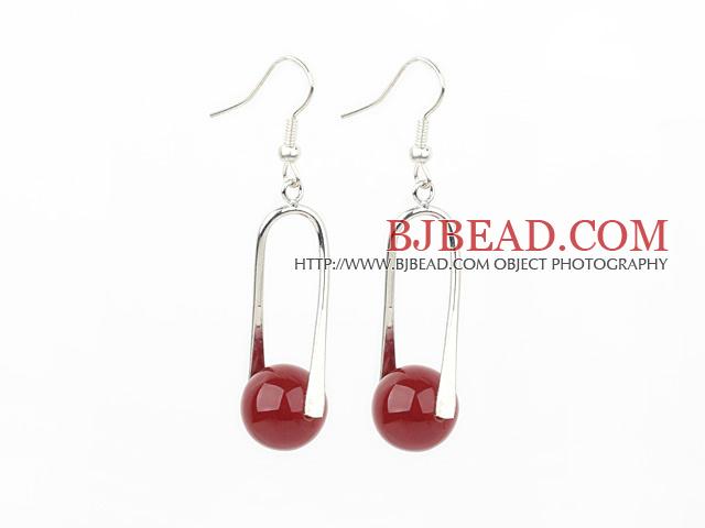 12mm red agate ball earrings