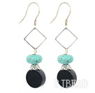 turquoise and black agate earrings