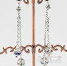 dangling style coloful rhinestone ball earrings