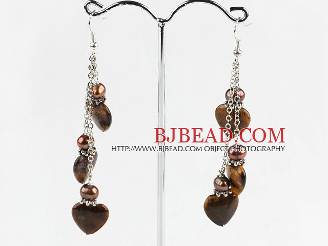 brown pearl and heart shape tiger eye earrings