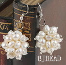 cluster style white pearl earrings