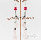 dangling style rose quartze and pear earrings  under $ 40