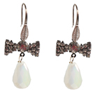 Beautiful Fashion Drop Shape Opal Dangle Earrings With Rhinestone Bow