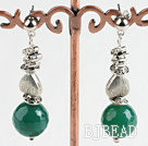 faceted green agate ball earrings