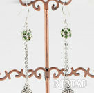 long style manmade diamond ball earrings