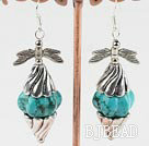 pumpkin shape turquoise earrings