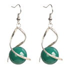 Fashion Design Faceted Green Agate Beads Spiral Shape Dangle Earrings