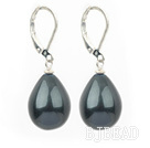black sea shell pear shape earrings