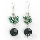 green pearl and indian agate earrings