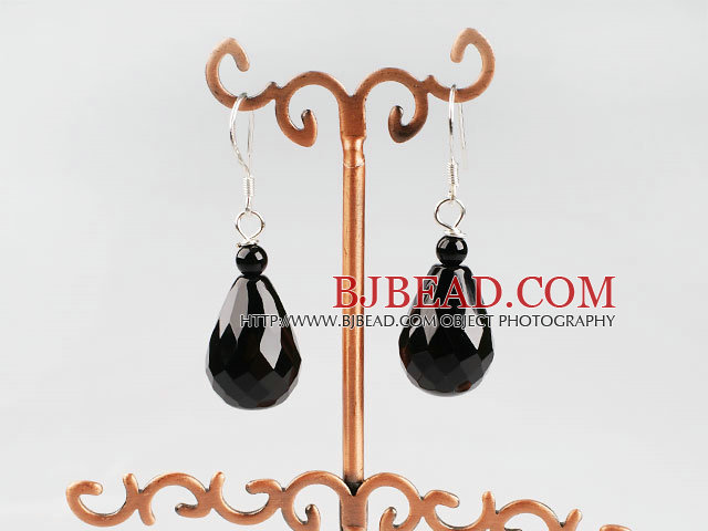 drop shape faceted black agate earrings
