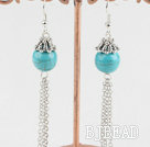 cute 12mm turquoise ball earrings with dangling chains under $ 40