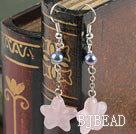 black pearl and starfish shape rose quartze earrings