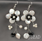White Coin Pearl and White Freshwater Pearl and Black Crystal Flower Earrings