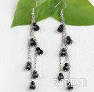black manmade crystal cluster earrings