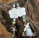 White Shell Flower and Stone Earrings under $ 40