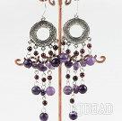 chandelier shape amethyst garnet earring
