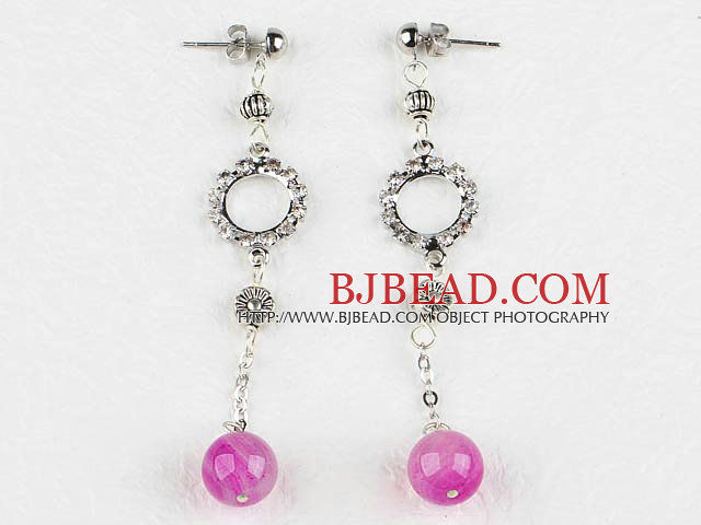 Pink agate drop earrings with rhinestone ring
