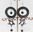 black pearl and shell earrings