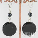 black pearl and agate earrings