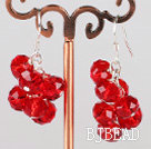 cluster style 8mm red crystal earrings