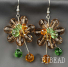 Fashion Style Champagne Series Champagne with Colorful Crystal Flower Earrings
