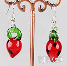strawberry shape colored glaze earrings