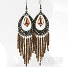 Vintage Style Brown Crystal Tassel Earrings