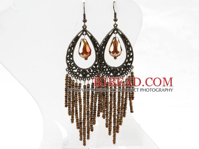 Vintage Style Brown Crystal Tassel Earrings