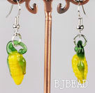 corn shape yellow colored glaze earrings
