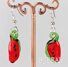 watermelon shape colored glaze earrings