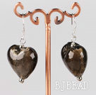smoky colored glaze heart earrings under $ 40