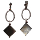Simple Long Style Garnet Bead Square Shape Black Lip Shell Dangle Earrings With Silver Loop