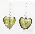 light yellow colored glaze heart earrings