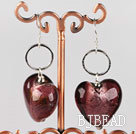 Reddish brown colored glaze heart earrings under $ 40