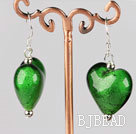 green colored glaze heart earrings under $ 40