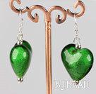green colored glaze heart earrings