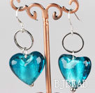 lake blue heart shape colored glaze earrings under $ 40