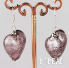 heart shape colored glaze earrings