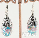 lovely hand drawn blue colored glaze earrings