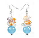 Beautiful Design Cyanite Multi Color Cluster Crystal Pearl Dangle Earrings