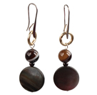 Simple Long Style Banded Agate Bead Oblate Black Lip Shell Dangle Earrings With Golden Loop