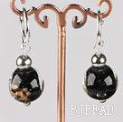 black 12 mm colored glaze ball earrings