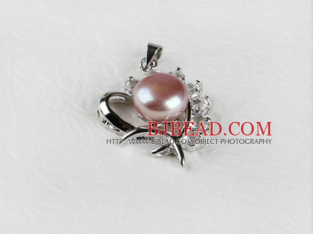 beautiful purple fresh water pearl heart pendant with rhinestone( no chains)