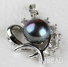 beautiful black fresh water pearl heart pendant with rhinestone( no chains)