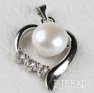 beautiful white fresh water pearl heart pendant with rhinestone( no chains)