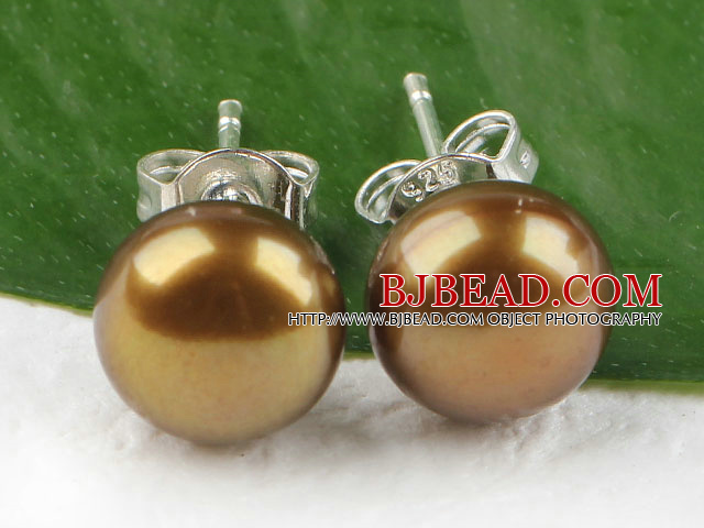 8-8.5 mm dyed gold brown pearl studs