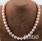 Natural 11-12mm White Pink Purple Pearl Necklace with Moonlight Clasp